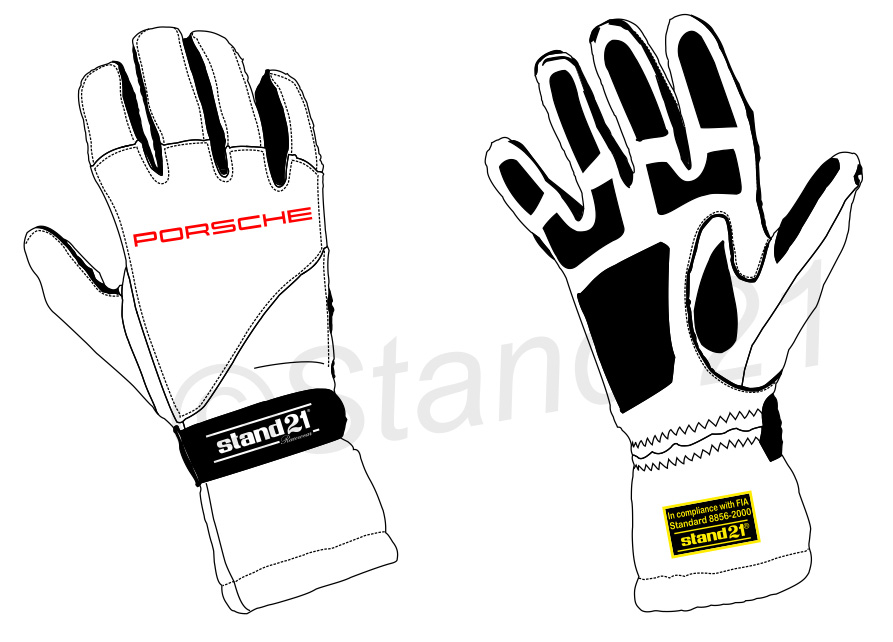 White GT4 Clubsport Outside Seams II gloves